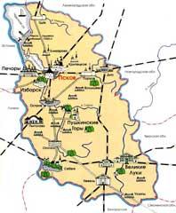 Карта Псковской области «Достопримечательности»